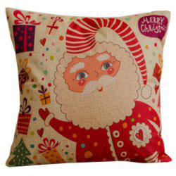 Colorful Cartoon Santa Claus Decorative Pillow Case - RED