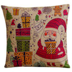 Colorful Cartoon Santa Claus Pillow Case - RED