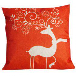 Festive Christma Deer Sofa Bed Pillow Case - RED