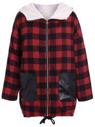 PU-Leather Splicing Hooded Plaid Coat -