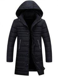 Hooded Zippers Embellished Cotton-Padded Jacket - BLACK 3XL