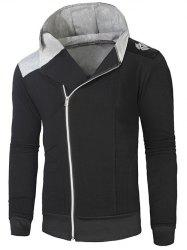Hooded Rib Splicing Oblique Zip-Up Hoodie - BLACK AND GREY L