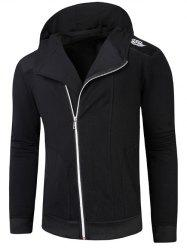 Hooded Rib Splicing Oblique Zip-Up Hoodie