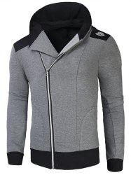 Hooded Rib Splicing Oblique Zip-Up Hoodie - GRAY XL