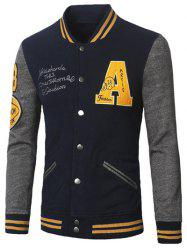 Stand Collar A Pattern Rib Spliced Baseball Jacket -