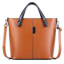 Metal Rivets PU Leather Tote Bag - LIGHT BROWN