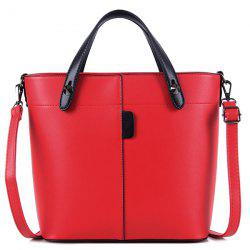 Metal Rivets PU Leather Tote Bag - RED