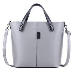 Metal Rivets PU Leather Tote Bag - LIGHT GRAY