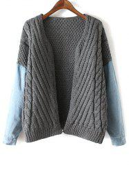 Denim Panel Cable Knit Cardigan -