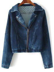 Lapel Collar Argyle Inclined Zipper Denim Jacket - DEEP BLUE L