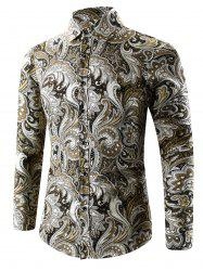 Turn-Down Collar Long Sleeve Paisley Shirt - YELLOW