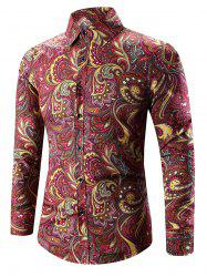 Turn-Down Collar Long Sleeve Paisley Shirt - DEEP RED