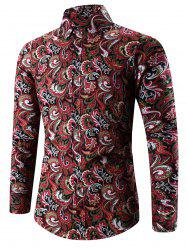 Turn-Down Collar 3D Paisley Print Long Sleeve Shirt