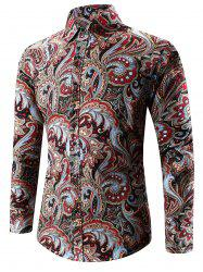 Turn-Down Collar Long Sleeve Paisley Shirt - RED