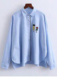 Oversized Casual Printed Long Sleeve Shirt - BLUE L