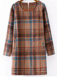 Checked Wool Blend Long Sleeve Shift Dress - COLORMIX XL