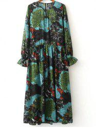 Printed Long Sleeve Dress With Cami Dress - COLORMIX L