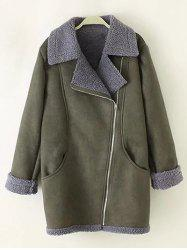 Faux Suede Lamb Wool Zip-Up Coat
