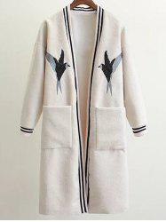 Collarless Bird Embroidered Wool Blend Coat -
