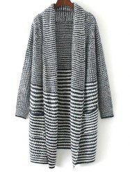 Drape Front Striped Knitted Cardigan