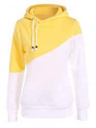 Two Tone Plus Size Jumper Hoodie - YELLOW