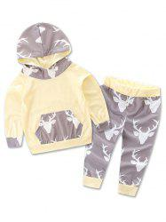Animal Printed Hoodie + Deer Print Pants Two Piece Set - OFF-WHITE