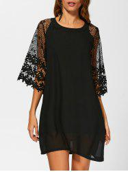 Crochet Lace Loose Chiffon Dress - BLACK
