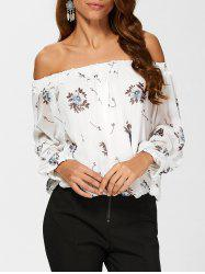 See Through Chiffon Floral Off The Shoulder Blouse -