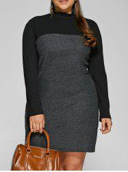 Knit Panel Mini Dress - BLACK 3XL