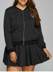 Patch Design Striped Baseball Jacket and Skirt - BLACK 4XL