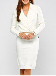 Long Sleeve Shawl Collar Sweater Dress - WHITE