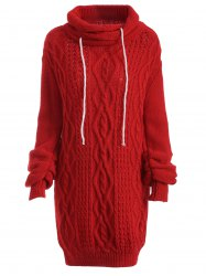 Manches Longues Robe Pull Câble Col Roulé  - Rouge
