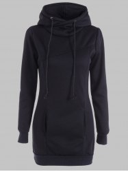 Slimming Pullover Pockets Design Hoodie - BLACK