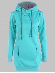 Slimming Pullover Pockets Design Hoodie - LAKE GREEN