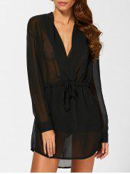 Chiffon See Thru Long Sleeve Surplice Dress