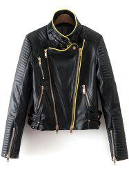 Piped PU Leather Biker Jacket