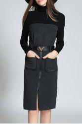 High Neck Front Slit Sweater Dress