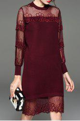 Lace Sheer Long Sleeve Shift Holiday Dress -