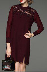 Lace Paneled Mini Knitted Dress -