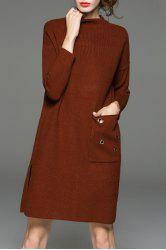 Mock Neck Riveted Side Slit Knit Dress - COFFEE