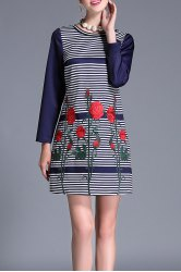 Long Sleeve Embroidered Striped Mini Dress - DEEP BLUE 4XL