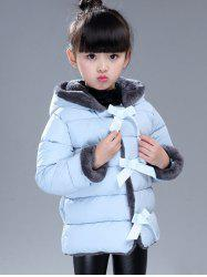 Hood with Hairball Bow-Front Puffer Coat -