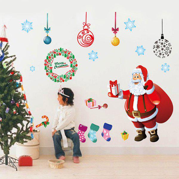 Showcase Merry Christmas Santa Claus Removable Wall StickersHOME<br><br>Color: COLORFUL; Wall Sticker Type: Plane Wall Stickers; Functions: Decorative Wall Stickers; Theme: Christmas,Holiday; Material: PVC; Feature: Removable,Washable; Size(L*W)(CM): 60*90; Weight: 0.375kg; Package Contents: 1 x Wall Stickers;