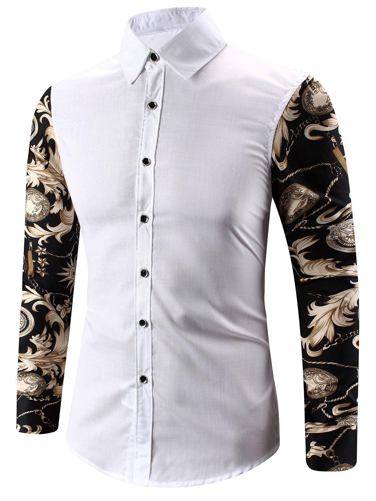 Trendy Turn-Down Collar 3D Abstract Floral Print Spliced Shirt