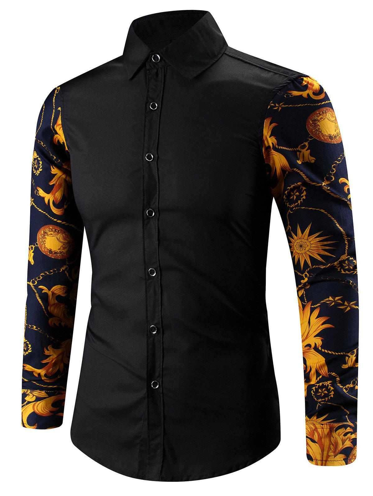 Shops Turn-Down Collar 3D Abstract Floral Print Spliced Shirt