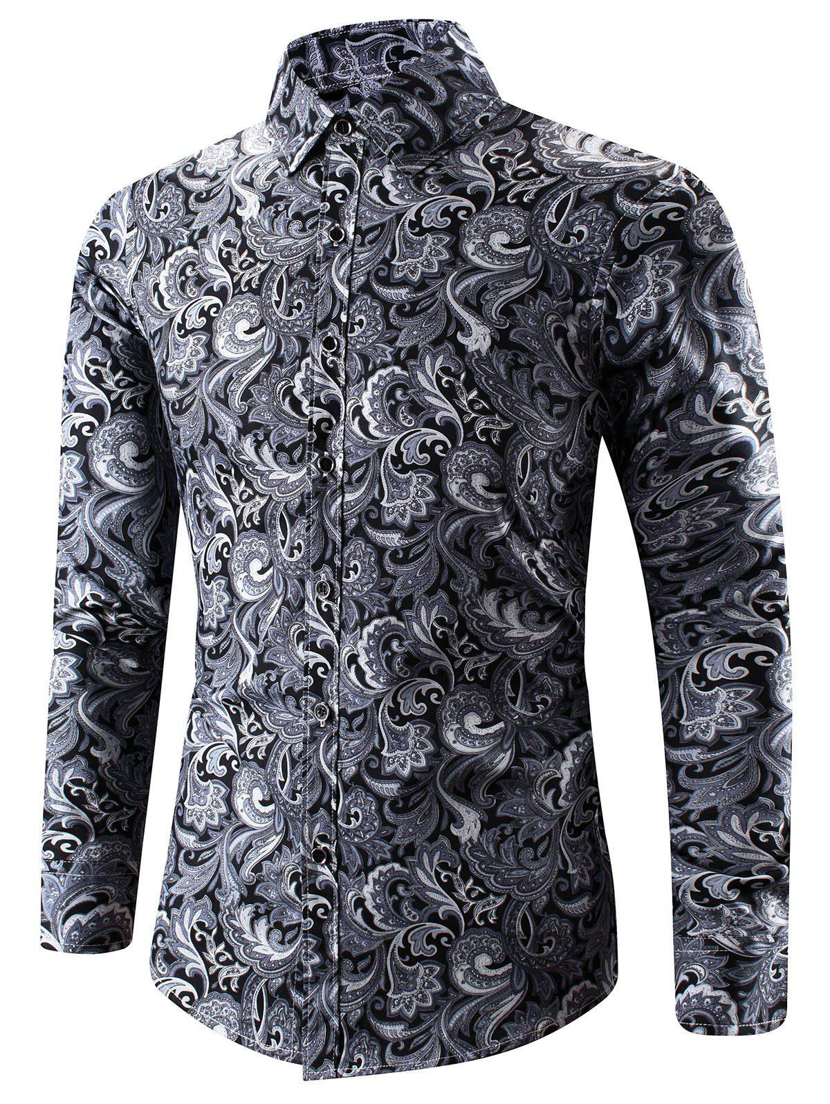 Turn-Down Collar 3D Paisley Print Long Sleeve ShirtMEN<br><br>Size: 2XL; Color: BLACK; Shirts Type: Casual Shirts; Material: Cotton,Polyester; Sleeve Length: Full; Collar: Turn-down Collar; Weight: 0.1860kg; Package Contents: 1 x Shirt;