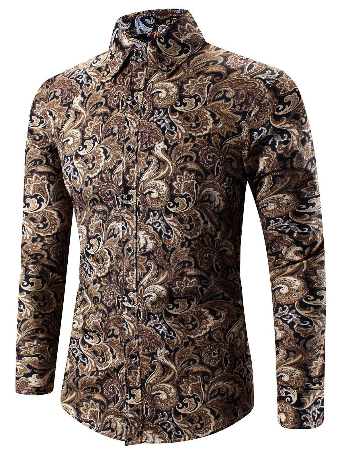 Store Turn-Down Collar 3D Paisley Print Long Sleeve Shirt