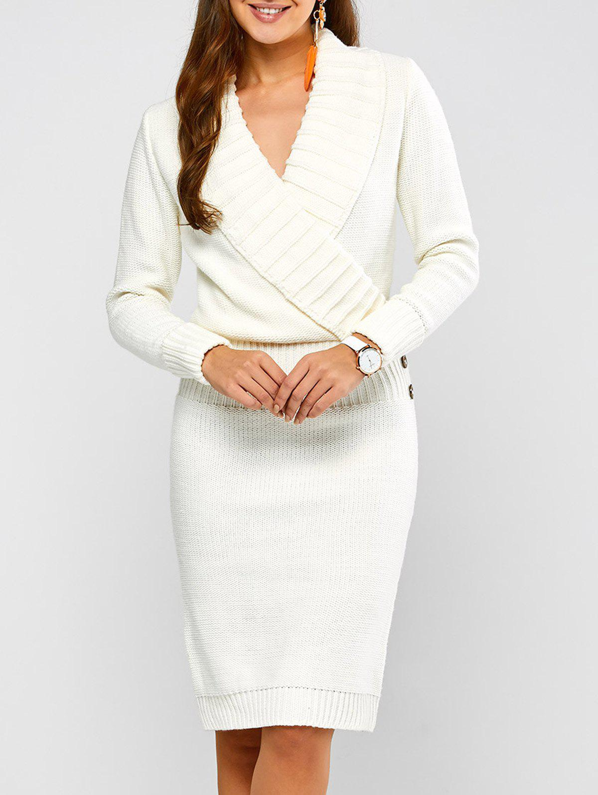 Robe Pull Col Châle Manches Longues Casual Blanc L
