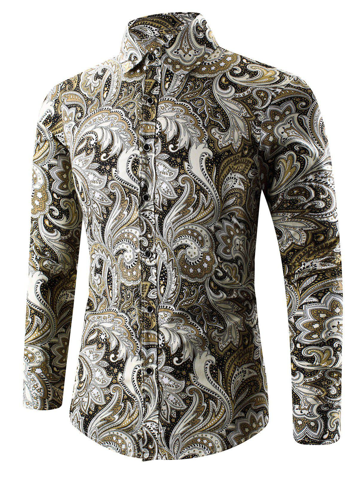 Turn-Down Collar Long Sleeve Paisley ShirtMEN<br><br>Size: M; Color: YELLOW; Shirts Type: Casual Shirts; Material: Cotton,Polyester; Sleeve Length: Full; Collar: Turn-down Collar; Weight: 0.1990kg; Package Contents: 1 x Shirt;
