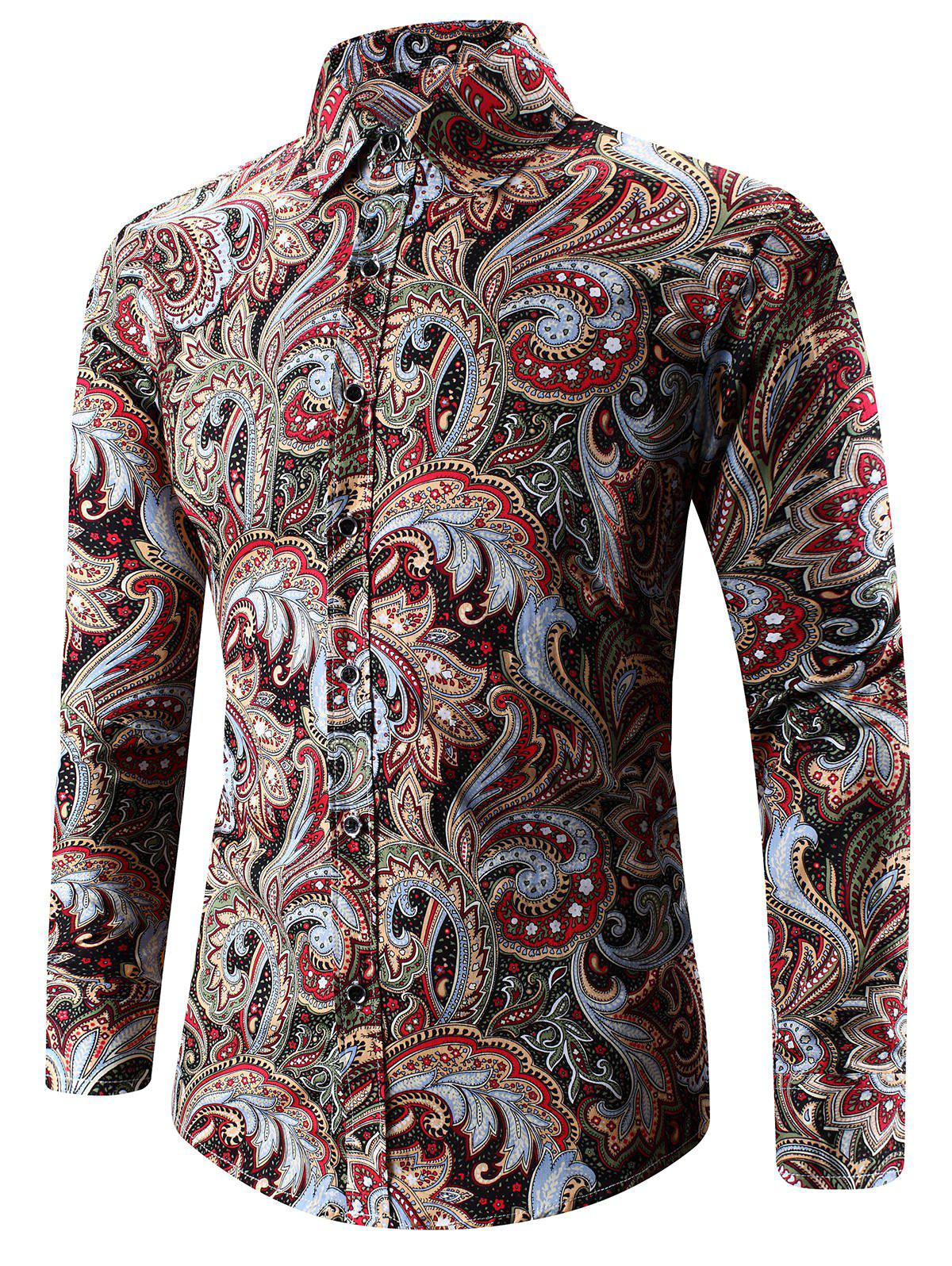 Outfits Turn-Down Collar Long Sleeve Paisley Shirt